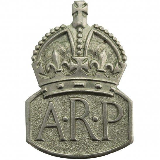 Air Raid Precautions ARP WW2 ARP Warden (Air Raid Precautions) Silver Lapel Badge - LADIES VERSION