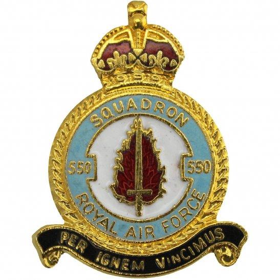 RAF Squadrons 550 Squadron Royal Air Force RAF Lapel Badge