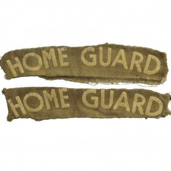 Home Guard WW2 Home Guard Unit PRINTED Cloth Shoulder Title Badge Flash PAIR