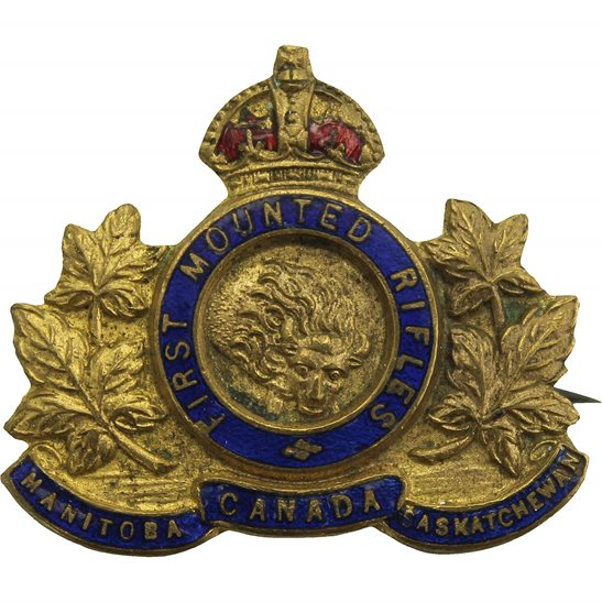 WW1 Canadian Army Canadian First Mounted Rifles 1st Battalion of Canada Sweetheart Brooch
