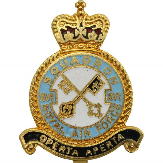 RAF Squadrons XVI 16 Squadron Royal Air Force RAF Lapel Badge