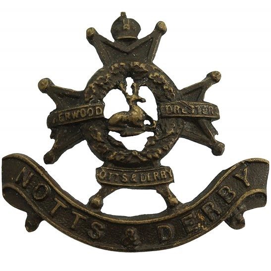 Notts and Derby Notts & Derby (Sherwood Foresters) Regiment OFFICERS Bronze Collar Badge
