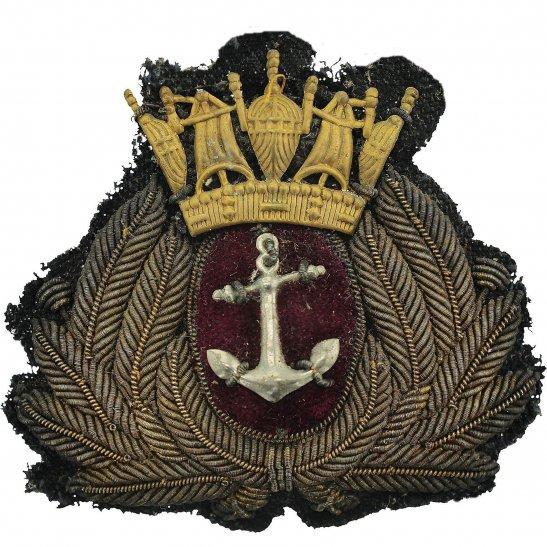 Merchant Navy British Merchant Navy MN Naval Cloth Bullion & Metal Cap Badge