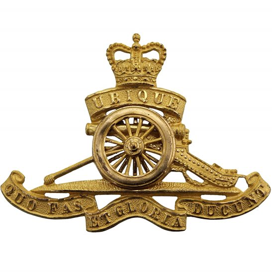 Royal Artillery Queens Crown Royal Artillery Regiment OFFICERS Gilt Officer's Cap Badge