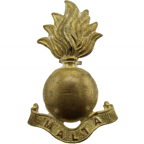 British Colonial Forces Royal Malta Artillery RMA Maltese Colonial Regiment Collar Badge