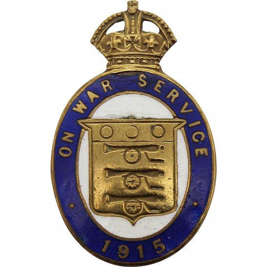 WW1 On War Service 1915 GILT AND ENAMEL Lapel Badge - GAUNT & SON