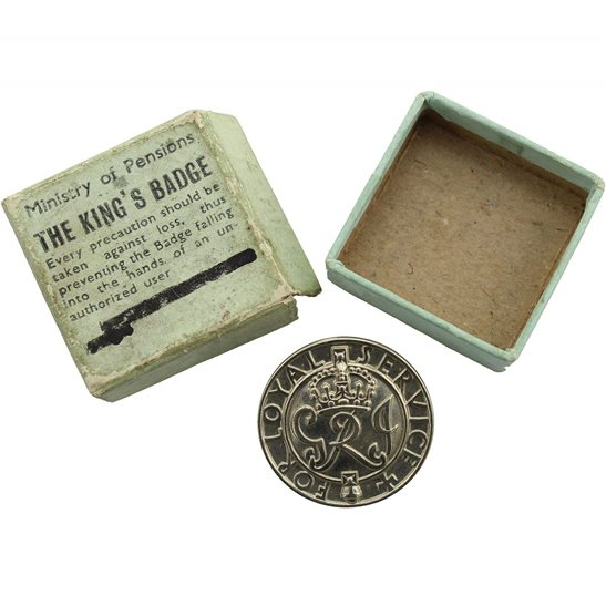 WOMENS VERSION WW2 Kings For Loyal Service Silver War Wound King's Lapel Badge & Box