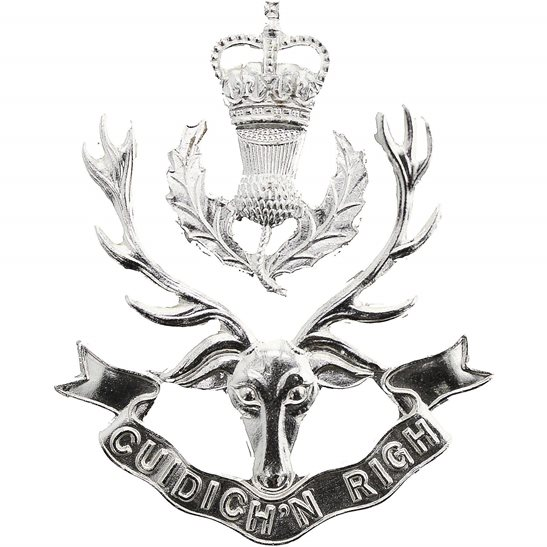 Queens Own Highlanders (Seaforth and Camerons) Regiment Staybrite Anodised Cap Badge - Staybright