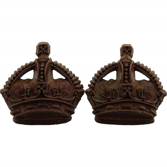 PLASTIC British Army Officers Insignia Bakelite Crown Pips PAIR - Rank of Major