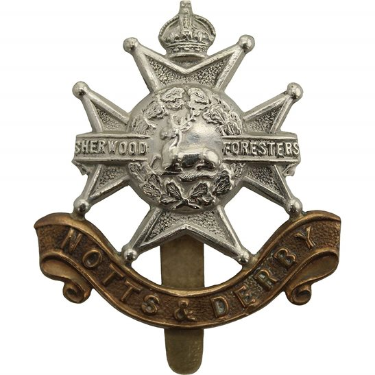 Notts & Derby Sherwood Foresters (Notts and Derby) Regiment Cap Badge - F.N. B'HAM Makers Mark
