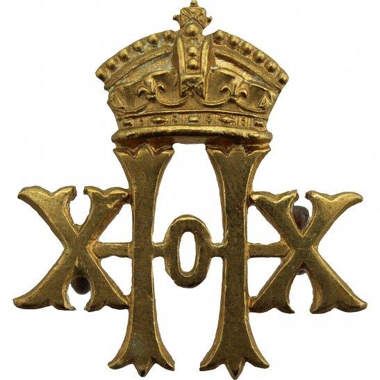 20th Hussars Victorian 20th Hussars Regiment Collar Badge - Queen Victoria Crown