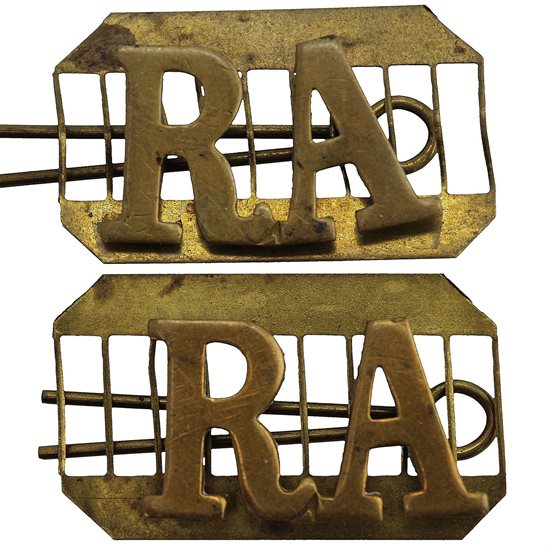 Royal Artillery WW1 Royal Artillery Regiment RA Shoulder Title PAIR