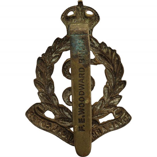 additional image for Royal Army Medical Corps RAMC Cap Badge - F.E. WOODWARD B'HAM Makers Mark