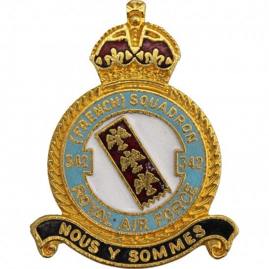 RAF Squadrons 342 French Squadron Royal Air Force RAF Lapel Badge