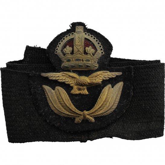 Royal Air Force RAF WW2 Royal Air Force RAF OFFICERS Cloth Band & Metal Cap Badge
