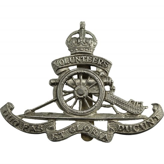 Royal Artillery Royal Artillery White Metal VOLUNTEERS Cap Badge - BP & CO LD B'HAM Makers Mark