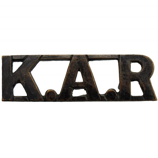 British Colonial Forces Kings African Rifles Regiment KAR King's Shoulder Title