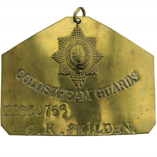 Coldstream Guards Coldstream Guards Regiment Brass Bed / Duty Foot Plate - 22630756 C. R. FEILDEN