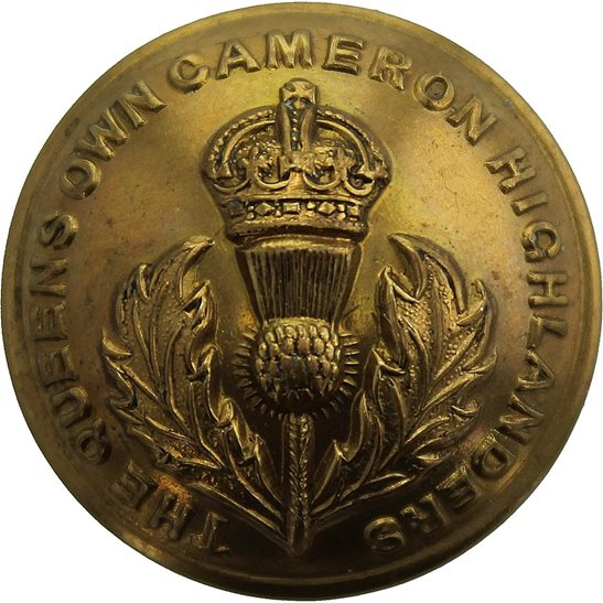 Cameron Highlanders Queens Own Cameron Highlanders Regiment Scottish Tunic Button - 26mm