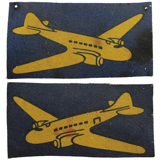 WW2 RASC Airborne Air Despatch Group PRINTED Cloth Formation Sign Patch Badge PAIR