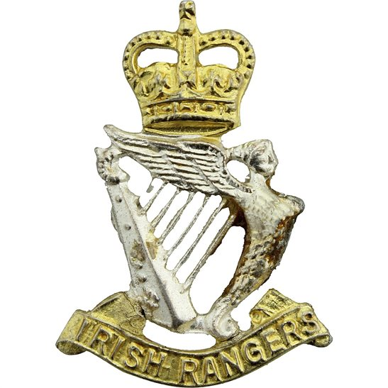Royal Irish Rangers Regiment OFFICERS Collar Badge - Queens Crown
