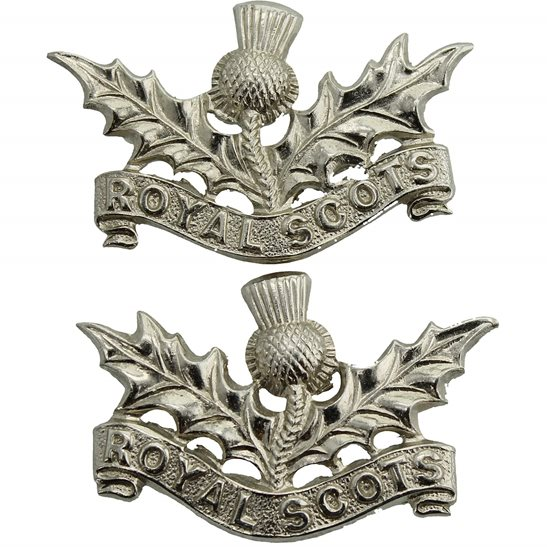 Royal Scots Royal Scots (Scottish) Regiment CHROME Collar Badge PAIR