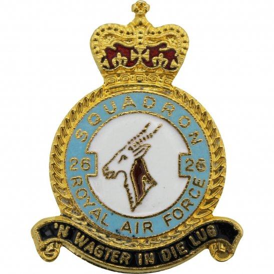 RAF Squadrons 26 Squadron Royal Air Force RAF Lapel Badge