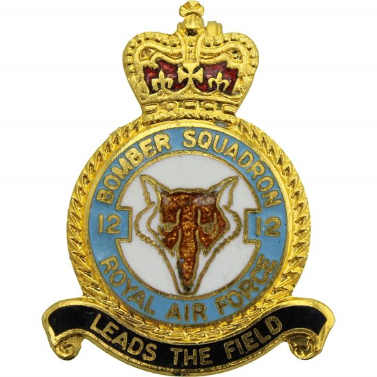 RAF Squadrons 12 Bomber Squadron Royal Air Force RAF Lapel Badge