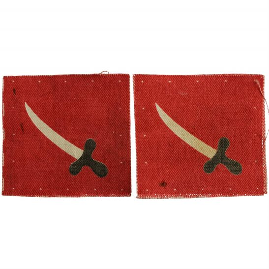 WW2 British Troops in Palestine Jordan PRINTED Cloth Formation Sign Patch Badge PAIR