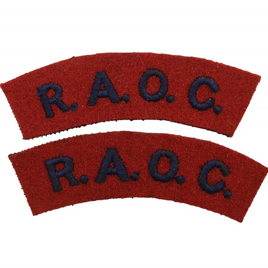 Royal Army Ordnance Corps RAOC WW2 Royal Army Ordnance Corps RAOC Cloth Shoulder Title Badge Flash PAIR