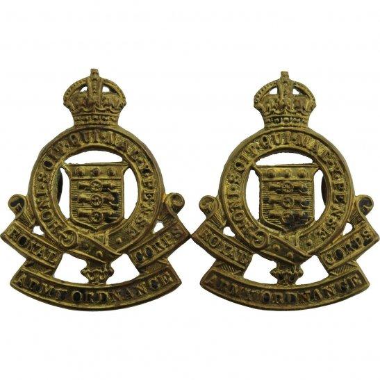 Royal Army Ordnance Corps RAOC WW2 Royal Army Ordnance Corps RAOC Collar Badge PAIR - First Pattern