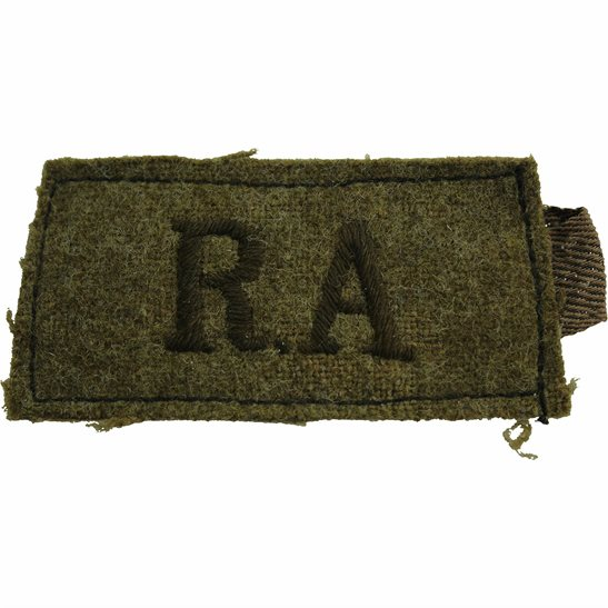 Royal Artillery WW2 Royal Artillery Regiment Cloth SLIP ON Shoulder Title Badge Flash