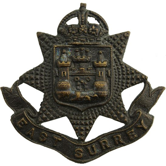 East Surrey East Surrey Regiment OFFICERS Bronze Cap Badge