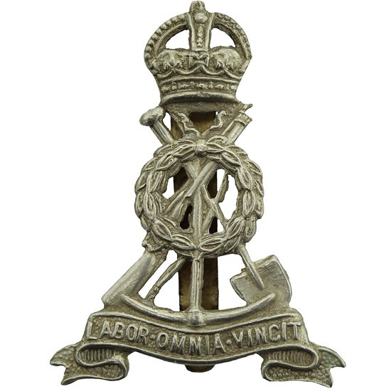 Royal Pioneer Corps WW2 Royal Pioneer Corps Attached to Armoured Units (WHITE METAL) Cap Badge