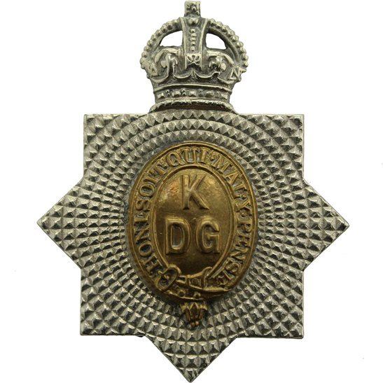 1st Kings Dragoon Guards WW1 1st Kings Dragoon Guards Regiment KDG (King's) Cap Badge FIRST PATTERN