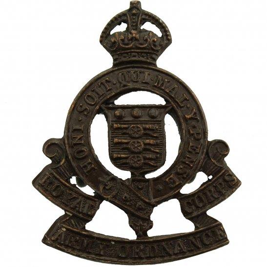 Royal Army Ordnance Corps RAOC WW2 Royal Army Ordnance Corps RAOC OFFICERS Bronze Collar Badge