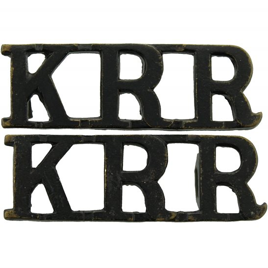 Kings Royal Rifle Corps KRRC Kings Royal Rifle Corps KRR (King's) Regiment Shoulder Title PAIR