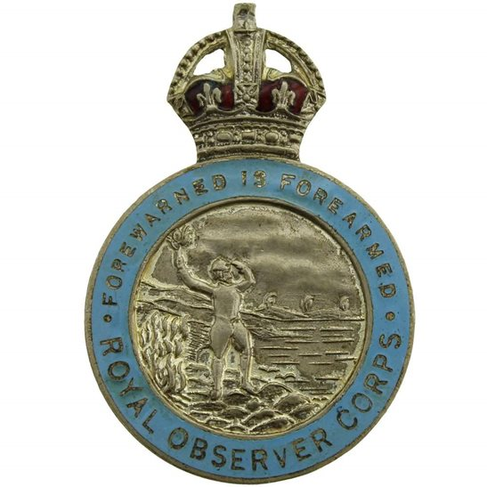 Royal Observer Corps WW2 Royal Observer Corps ROC Lapel Badge - CROWN VERSION