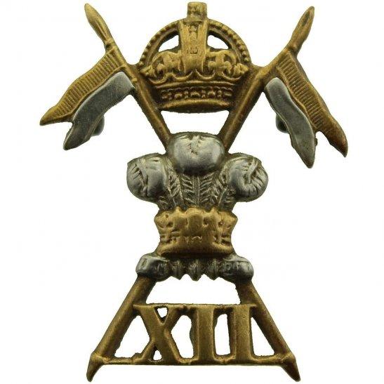 12th Lancers WW1 12th Royal Lancers Regiment Collar Badge