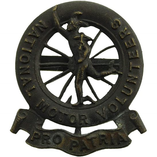 Motor Transport WW1 Raised National Motor Volunteers Corps OFFICERS Bronze Cap Badge