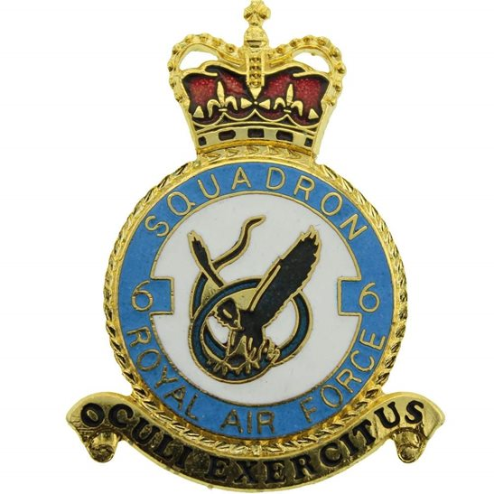RAF Squadrons 6 Squadron Royal Air Force PLAQUE Badge RAF