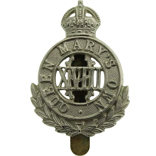 18th Hussars WW1 18th Queen Marys Own Royal Hussars Regiment (Mary's) Cap Badge
