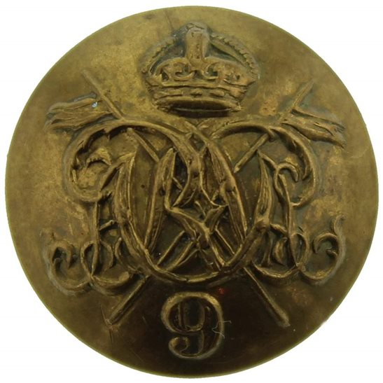 9th Queens Royal Lancers WW1 9th Queens Royal Lancers Regiment SMALL Tunic Button - 20mm