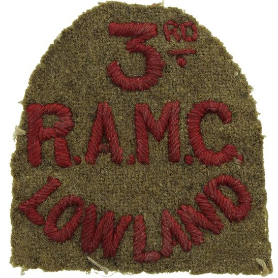 Royal Army Medical Corps RAMC WW1 3rd Lowland Brigade, Royal Army Medical Corps RAMC Cloth Shoulder Title Badge Flash