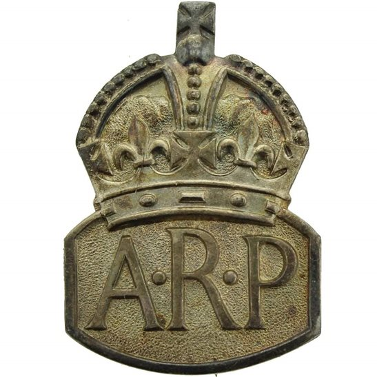 Air Raid Precautions ARP WW2 ARP Warden (Air Raid Precautions) HALLMARKED Silver Lapel Badge - LADIES VERSION