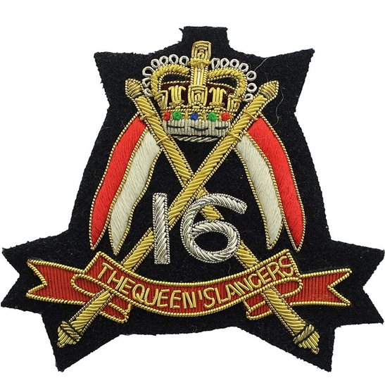 16th Lancers 16th (The Queens Lancers) Regiment Cloth Wire BULLION Veterans Blazer Badge