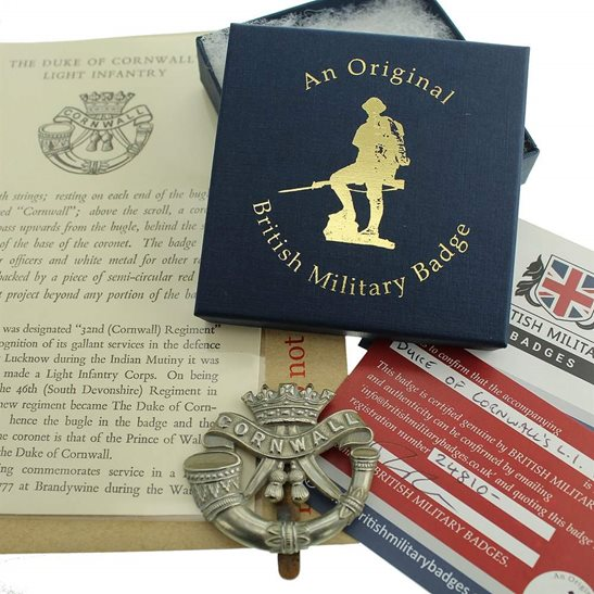 Duke of Cornwalls Light Infantry Duke of Cornwalls Light Infantry DCLI (Cornwall's) Cap Badge in Presentation & Gift Box