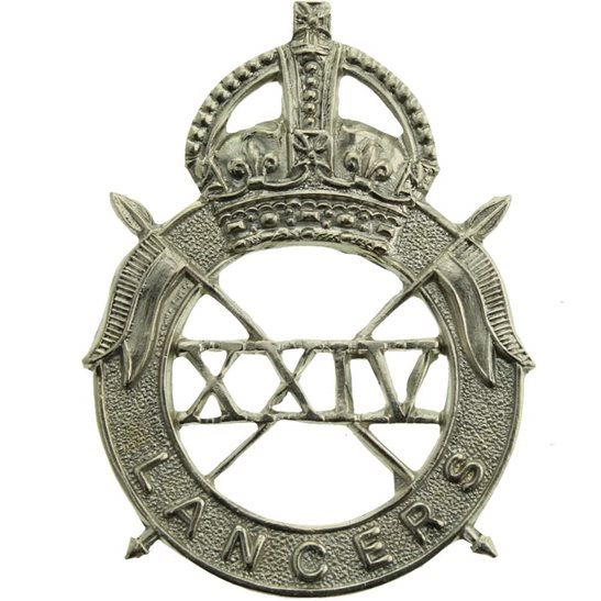 24th Lancers WW2 ISSUED 24th Lancers Regiment Cap Badge