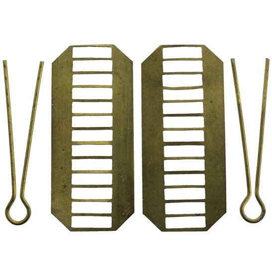 2x Backing Plates & Cotter Pins for a PAIR of WW1 / WW2 British Army Shoulder Titles - 48mm
