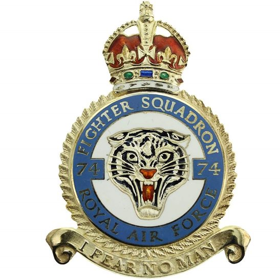 RAF Squadrons 74 Fighter Squadron SILVER Royal Air Force PLAQUE Badge RAF